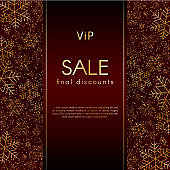 Sale final discounts VIP offer Christmas New Year luxury banner with pattern of gold luxury snowflake glitter Red festive elegant banner layout promo vip card Design element modern luxury theme Vector