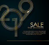 Sale final discounts 2019 Gold lines on a dark background Creative element for design luxury promo cards advertising for 2019 sale Modern design gold line card flyer theme final sales in 2019 Vector