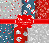 Christmas seamless pattern collection Winter theme print Christmas ball toy gift boxe sweet candy New Year Christmas holiday background wallpaper wrapper Set seamless pattern texture print Vector art