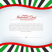 Brochure with lines strips colors of the national United Arab Emirates UAE flag with the text of Happy National Day and Independence Day UAE For card banner brochure on holiday theme Background Vector