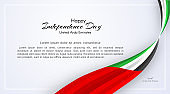 Card with wavy ribbon colors of the national flag of United Arab Emirates (UAE) with the text of Happy National Day and Independence Day UAE For card banner on holiday theme National background Vector