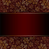 Christmas New Year luxury card with gold snowflakes glitter Red festive elegant banner layout card Christmas and New Year pattern of gold luxury snowflakes Design element layout luxury theme Vector