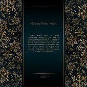 Christmas New Year luxury banner with gold snowflakes glitter Blue festive elegant banner layout card Christmas and New Year pattern of gold luxury snowflakes Design element layout luxury theme Vector