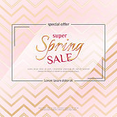 Poster Spring Sale on an elegant pink zigzag background Luxury golden card poster for advertising sale promotions discounts Beautiful spring summer theme of fashion advertising sale discount Vector