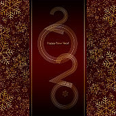 Christmas New Year 2020 luxury banner with gold snowflakes glitter Red festive banner layout card Christmas and New Year 2020 lines pattern of gold luxury snowflakes Design element luxury theme Vector