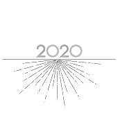 Graphic lines 2020 New Year on a white background Creative element for design cards calendar invitations for the New Year and Christmas Modern design graphic dotted line 2020 invitation card Vector