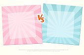 Versus VS Background Letters vs on a pink and blue background of lines rays Blank template background for team competition battle girls versus boys Sport theme cute design of fight game contest Vector