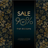 Sale 90% final discounts VIP offer Christmas New Year luxury banner with pattern of gold luxury snowflakes glitter Blue festive elegant banner layout promo card Design element luxury theme Vector