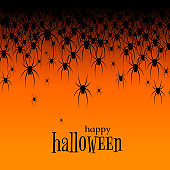 Halloween theme Many black spiders on an orange background Text Happy Halloween Creative design web site banner poster template Halloween party invitations Bright background with black spiders Vector