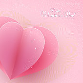 Paper heart on a pink luxury background Text Happy Valentine Day Heart element a love symbol in a golden luxury frame for the design of banner poster on Valentine Day Mother Day weddings sale Vector