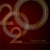Gold lines 2020 New Year on a dark red background Creative element for design luxury cards invitations party for the New Year and Christmas Modern design gold line 2020 festive invitation card Vector