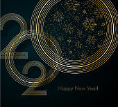 Gold lines 2020 with snowflake glitter Text Happy New Year on a blue background Creative element for design luxury cards invitations New Year and Christmas party 2020 Modern gold lines 2020 Vector art