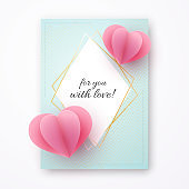 Paper heart on a blue luxury background Text For you with love in a golden luxury frame Heart element a love symbol for the design of banner poster card on Valentine Day Mother Day card sale Vector