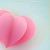 Paper heart on a blue luxury background Text Happy Valentine Day Heart element a love symbol in a golden luxury frame for the design of banner poster on Valentine Day Mother Day weddings sale Vector