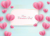 Paper heart on a blue luxury background Text Happy Valentine Day in a golden luxury frame Heart element a love symbol for the design of banner poster on Valentine Day Mother Day weddings sale Vector