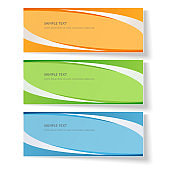 Card with abstract wavy lines Orange blue green curved lines on a colored background Creative card template design element ads poster Abstract background for business card layout template Vector set