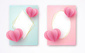 Paper heart on a pink blue luxury background Empty card with golden luxury frame Set Heart element a love symbol for the design of banner poster wedding card on Valentine Day Mother Day sale Vector
