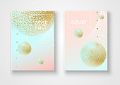 Cover brochures luxury notebook Abstract gradient background with golden texture ball line speck dot Fashion modern diary cover space beauty theme Pastel luxury halftone background Vector abstract art