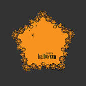 Lace doily lasercut paper Halloween theme Round spiderweb and spider pattern Banner pentagon doily with text Happy Halloween on a dark background lasercut frame Design element for laser cutting Vector