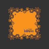 Lace doily lasercut paper Halloween theme Round spiderweb and spider pattern Banner square doily with text Happy Halloween on a dark background lasercut frame Design element for laser cutting Vector