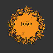 Lace doily lasercut paper Halloween theme Round spiderweb and spider pattern Banner round doily with text Happy Halloween on a dark background lasercut frame Design element for laser cutting Vector