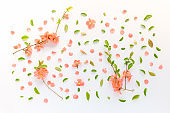 Colorful springtime floral decoration flat lay top view