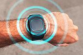 Smart watch on male hand, mock up screen