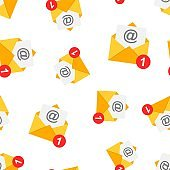 Mail envelope icon seamless pattern background. Email message vector illustration. Mailbox e-mail symbol pattern.