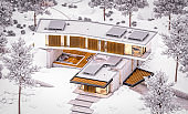 3d rendering of modern house on the hill with pool in winter evening