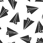 Paper airplane icon seamless pattern background. Plane vector illustration on white isolated background. Air flight business concept.