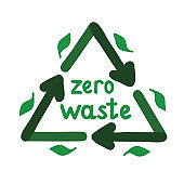 Zero waste badge or emblem. Green recycling sign with green leaves and zero waste lettering,  isolated on white background, vector