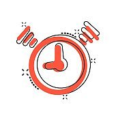Vector cartoon clock timer icon in comic style. Time alarm concept illustration pictogram. Stopwatch clock business splash effect concept.