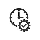 Check mark on clock icon in flat style. Gear with time vector illustration on white isolated background. Production business concept.