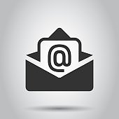 Mail envelope icon in flat style. Email message vector illustration on white background. Mailbox e-mail business concept.