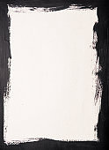 Black painted frame on white paper background