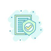 Insurance policy icon in comic style. Report vector cartoon illustration on white isolated background. Document business concept splash effect.