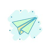 Paper airplane icon in comic style. Plane vector cartoon illustration on white isolated background. Air flight business concept splash effect.