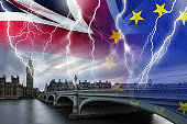 No Deal BREXIT conceptual image of lightning over London and UK and EU flags symbolising destruction of agreement