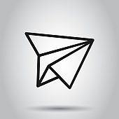 Paper airplane icon in flat style. Plane vector illustration on isolated background. Air flight business concept.