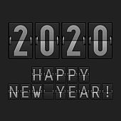 Airport Display Font. 2020 Big Numbers. Happy New Year 2020. Vector Illustration