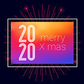 2020 Merry Xmas Bright Background. Merry Christmas and Happy New Year 2020. Vector Illustration