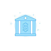 Bank, finance center flat vector icon. Filled line style. Blue monochrome design. Editable stroke
