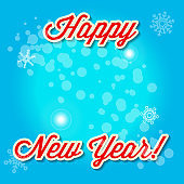 Light Blue Snowy Background. Merry Christmas and Happy New Year. Vector Illustration