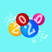 Matt Colorful Abstract Christmas Balls with 2020 Numerals. Vector Illustration