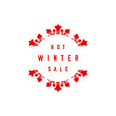 Hot Winter Sale Label. Big Snowflake. Merry Christmas and Happy New Year. Vector Illustration