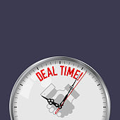 Deal Time. White Vector Clock with Motivational Slogan. Analog Metal Watch with Glass. Handshake Icon