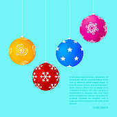 Matt Colorful Hanging Christmas Balls with Different Patterns. Christmas and New Year Background. Vector Illustration