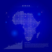 Africa illuminated map with glowing dots. Dark blue space background. Vector illustration
