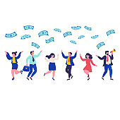 Peoples catches money. Career, salary, earnings profit. Business and finance successful people.