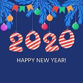 New Year and Christmas elements, Christmas tree, balls, garland.